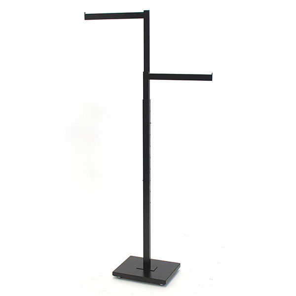 """2-way garment rack with 2-16"""" straight arms rectangular tubing frame/arms - satin black with chrome hanger strips"""