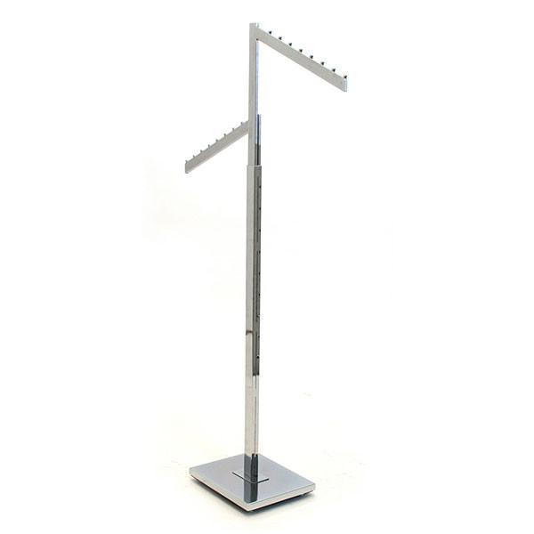 2-way garment rack with 2 slant arms rectangular tubing frame/arms - chrome