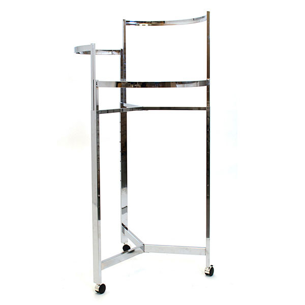 "RACK 36"" TRI-LEVEL ROUND CHROME w/CASTERS"