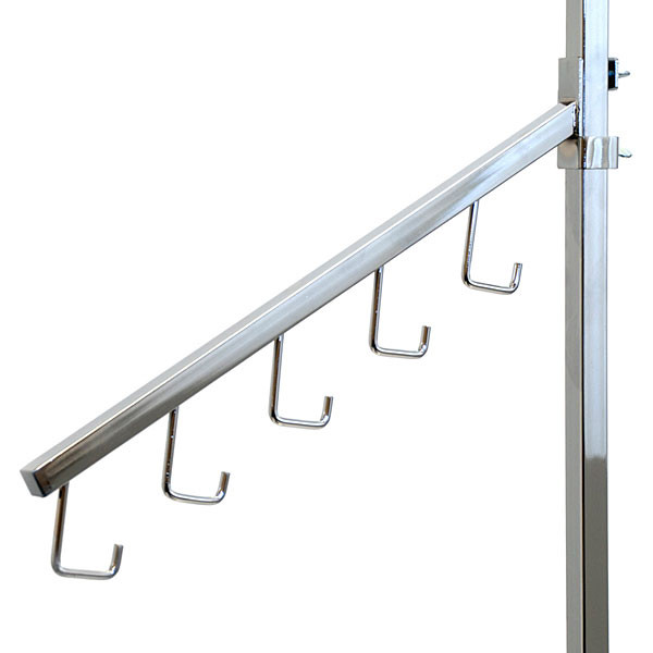 Twist-on 5-hook waterfall square tube - chrome
