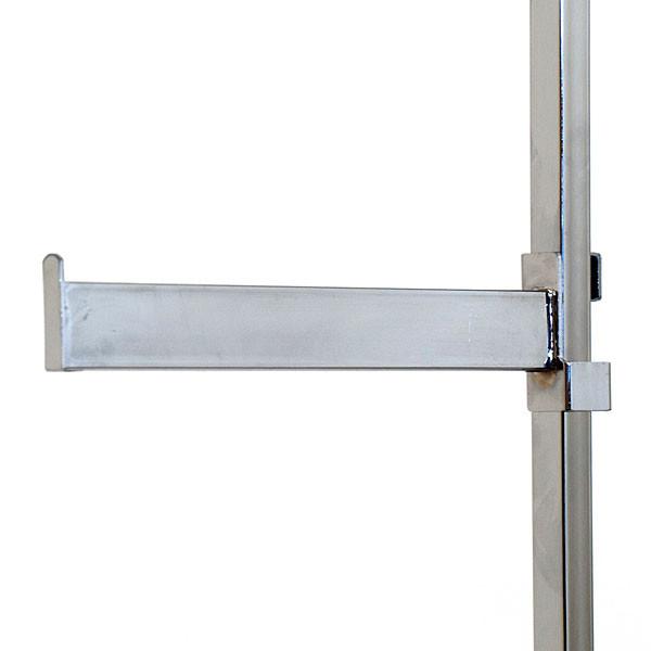"Twist-on faceout 12"" rectangular tube fits square tubing racks - chrome"