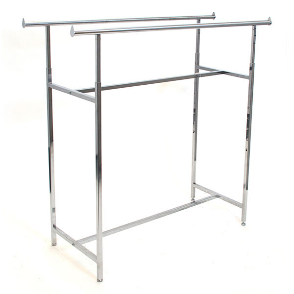 """Double rail clothing rack 60"""" long adjustable height from 48""""-72"""" - chrome"""