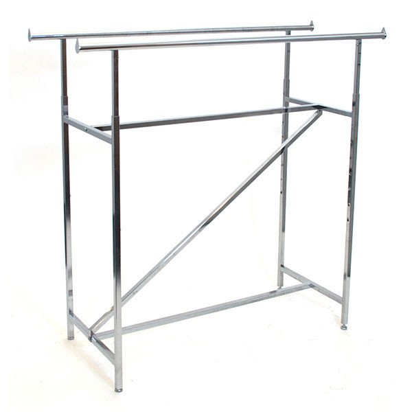 "Double rail clothing rack with Z-bar 60"" long adjustable height from 48""-72"" - chrome"