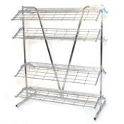 """Shoe rack 2-sided 4' wide x 66""""high includes 8-12' deep shelves - chrome"""