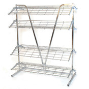 "Shoe rack 2-sided 4' wide x 66""high includes 8-12' deep shelves - chrome"