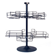 Counter top cap rack 2 tier wire - black