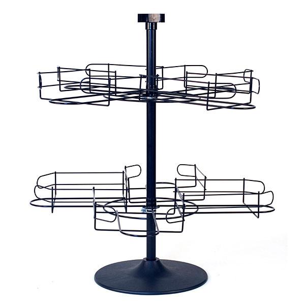 Counter top cap rack 2 tier wire - black