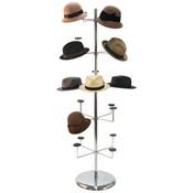 "Millinery rack holds 20 hats floor standing 70-1/2""h - chrome"