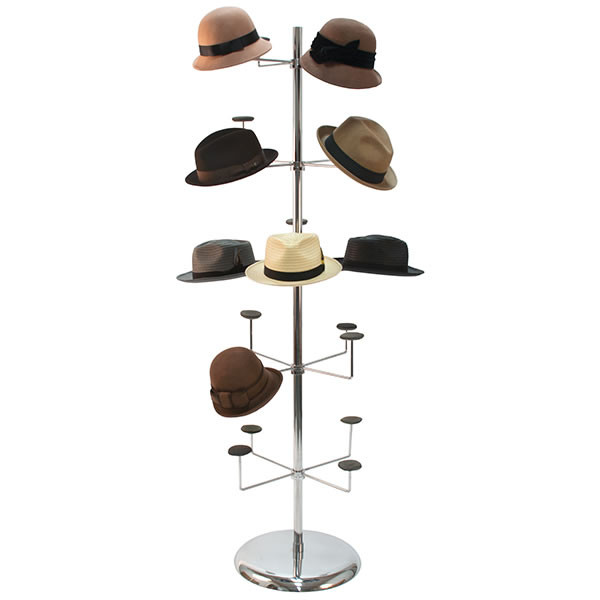 "Millinery rack holds 20 hats floor standing 70-1/2""h - chrome"