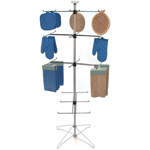 Wire spinner rack 4 tiers with 6 hooks and sign clip
