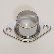 "Wall mount flange for 1-1/16"" round hangrail or pipe - chrome"