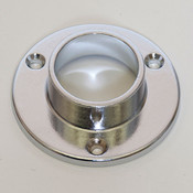 "Wall mount flange for 1-1/4"" round hangrail or pipe - chrome"