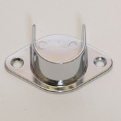 """U-flange for 1-1/16"""" round hangrail or pipe - chrome"""