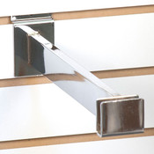 "Slatwall hangrail bracket- 12"" for 1/2""x1-1/2"" rectangular tubing - chrome"