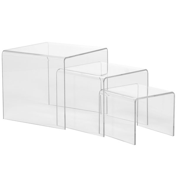 """Acrylic risers - 3"""" 4"""" 5"""" high set of 3 - clear"""