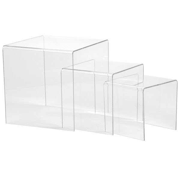 """Acrylic risers - 5"""" 6"""" 8"""" high set of 3 - clear"""