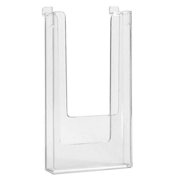 "Slatwall literature holder 4""w x 9""h molded - clear"