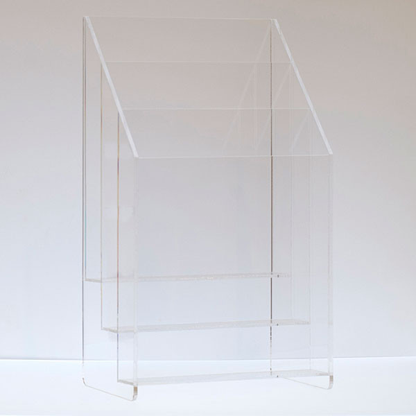 """Literature holder counter top 8-1/2""""x11"""" - 3-tier/pocket clear acrylic"""