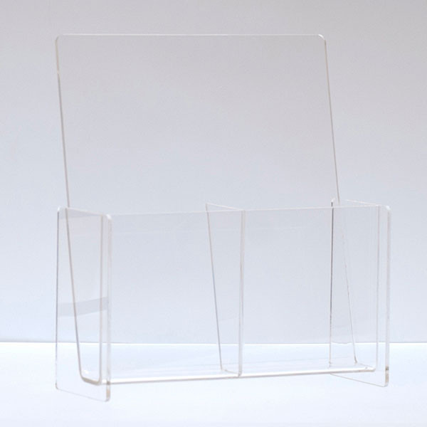 """Literature holder counter top 4""""x9"""" - double pocket clear acrylic"""