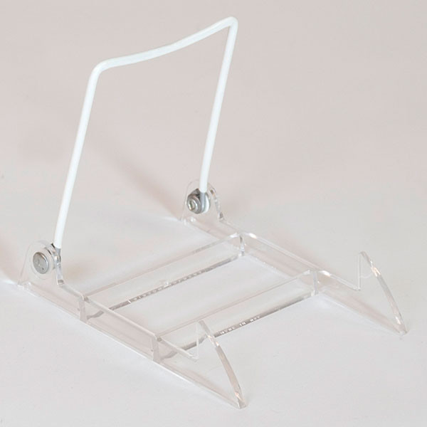 "Display easel 5-1/2""x3-7/8""x4"" - clear plastic base/white upright"