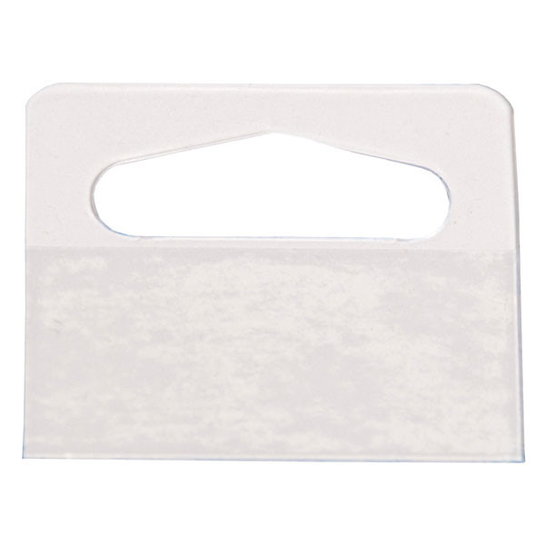 "Merchandise hang tab heavy duty 2""w x 1-3/4""h - clear 100/pack"
