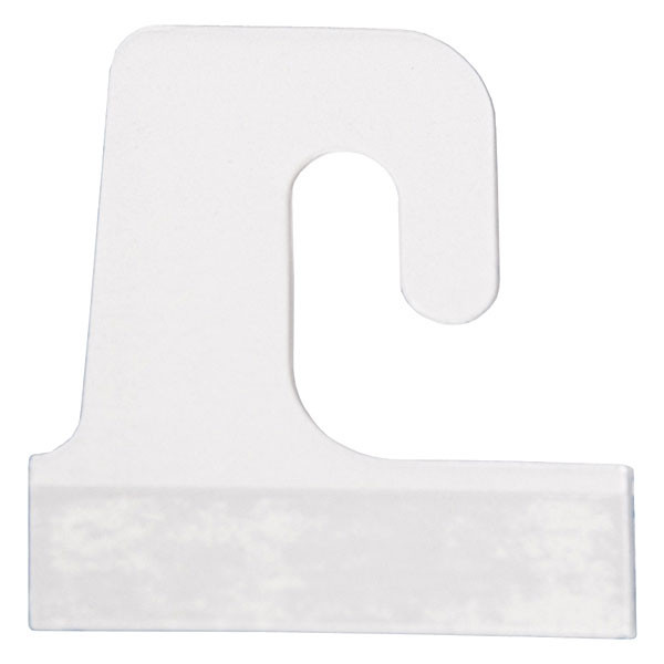 "Merchandise hang tab - J-hook style 1-1/2"" x 1-1/2"" - clear 100/pack"