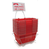 Shopping basket set includes 12 baskets stand and sign - red