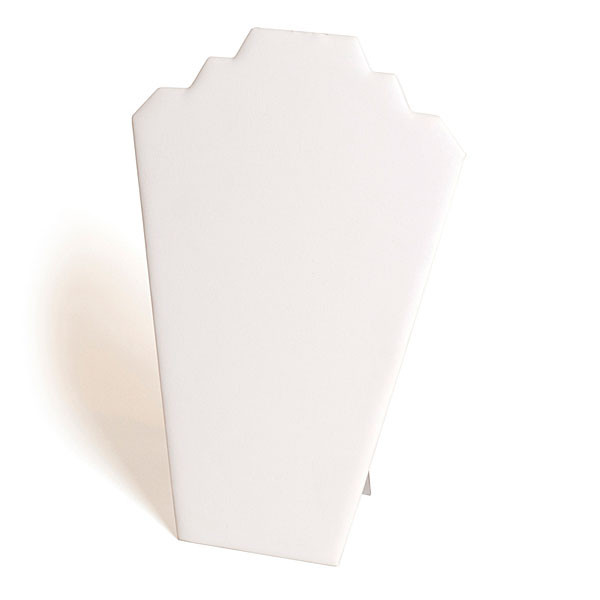 """Necklace display padded card 12-1/2""""h - white leatherette"""