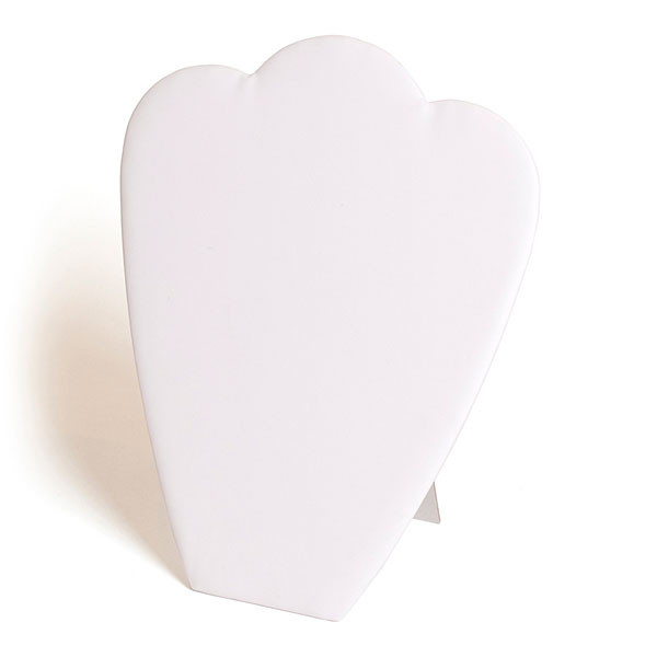 """Necklace display padded card with rounded top 10-7/8""""h - white leatherette"""