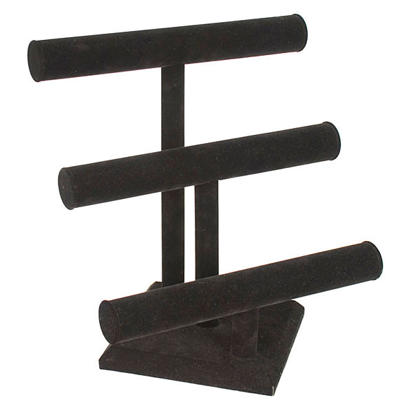 "Jewelry T-bar 3-tier 12"" x 13""h - black"