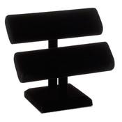 Oval Shaped T-Bar Displayer 2 Tier - black velvet