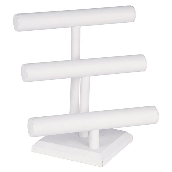 "Jewelry T-bar 3- tier 12""wx 12-3/4""h - white leatherette"