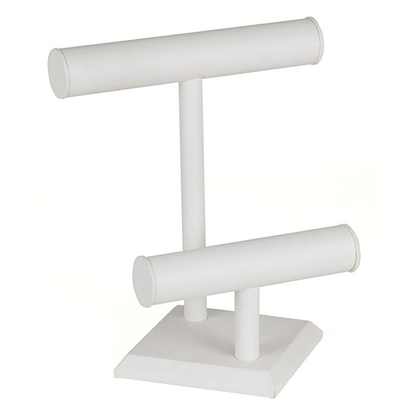 "Jewelry T-bar 2-tier 9-1/2"" x 11""h - white leatherette"