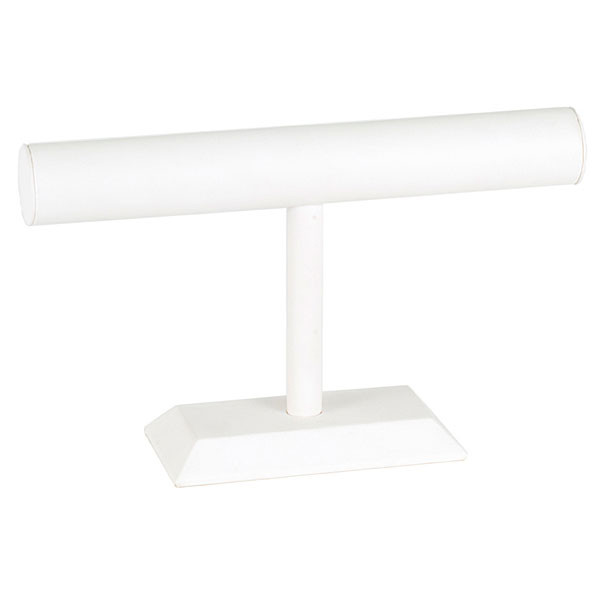 "Jewelry T-bar 12""w x 7""h - white leatherette"