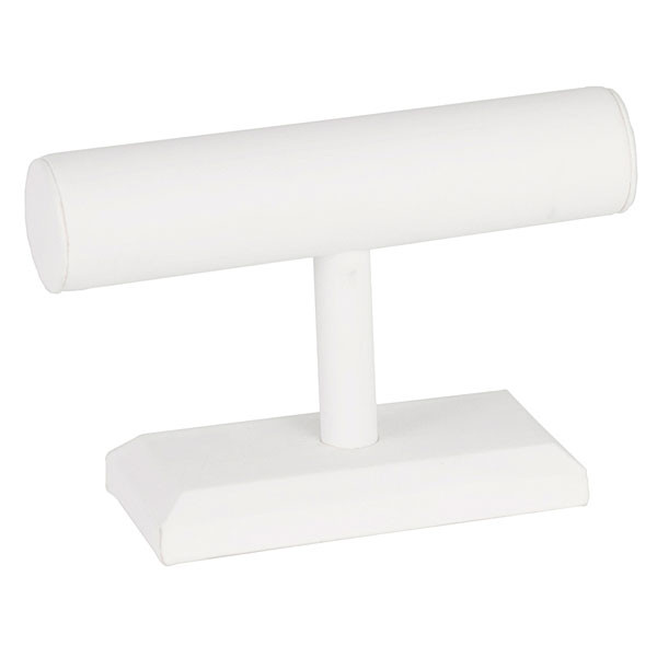 "Jewelry T-bar 7""w x 5""h - white leatherette"
