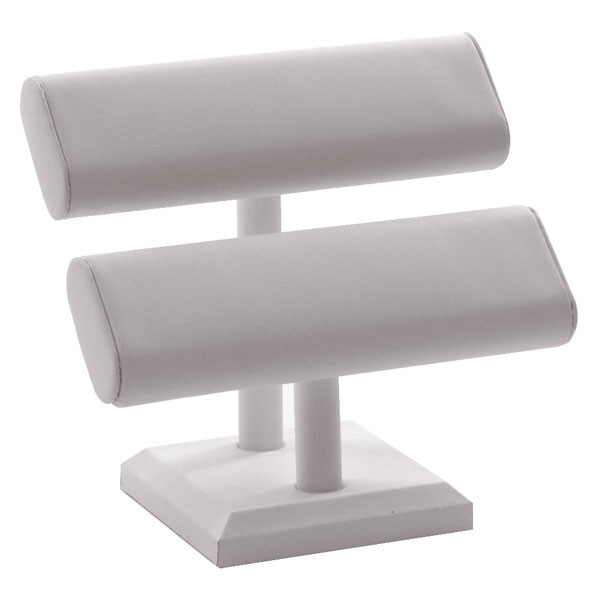 Oval Shaped T-Bar Displayer 2 Tier - white leatherette