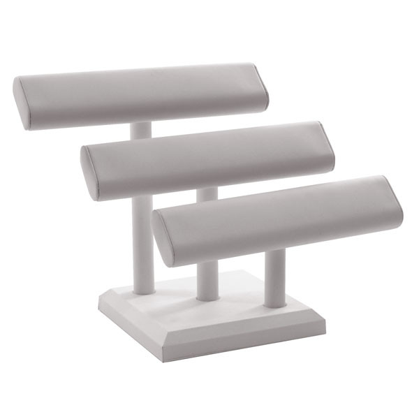 Oval Shaped T-Bar Displayer 3 Tier - white leatherette