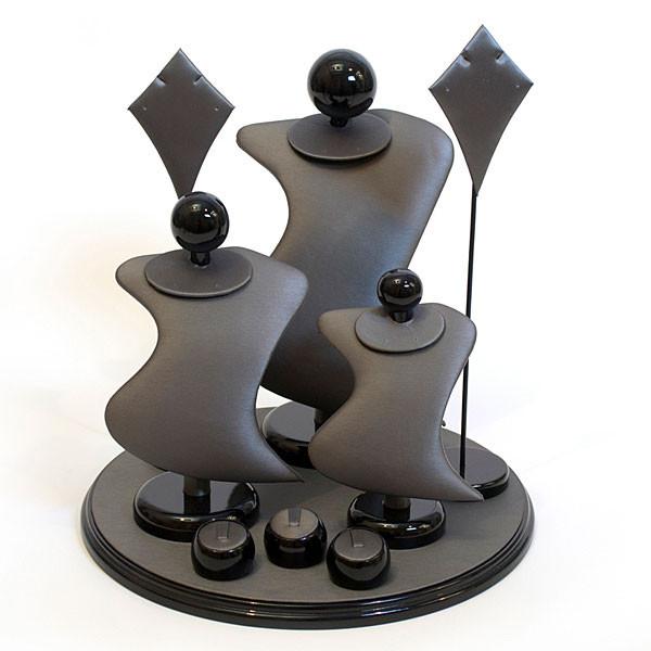 Jewelry Set 9 Pieces Black/Steel Grey