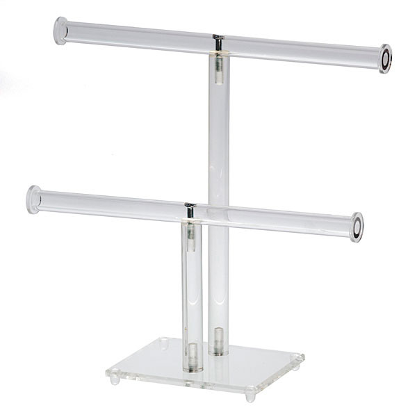 """Jewelry double T-bar display 10""""wx9-3/4""""h - clear acrylic"""