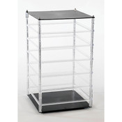 "Revolving earring displayer 6-tier 10""x10""x18"" - clear rails black base/top"