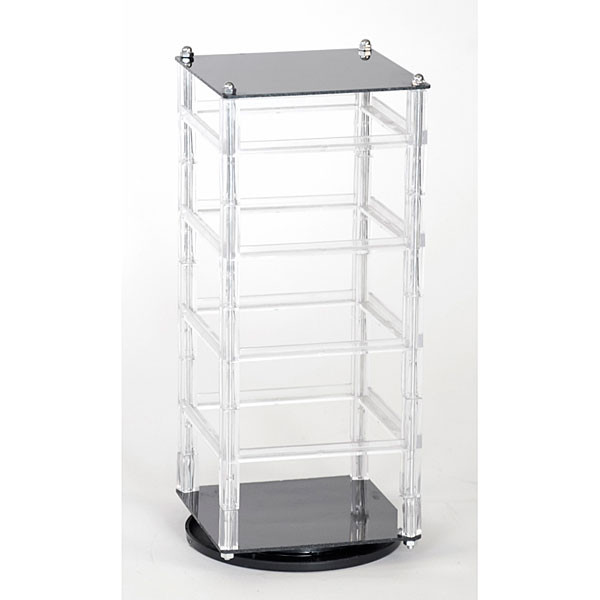 "Revolving earring displayer 4-tier 5""x5""x12"" - clear rails black base/top"