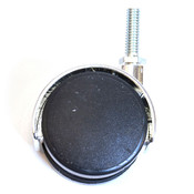 """Twin wheel caster 60mm 3/8"""" thread - black with silver hood"""