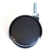 "Twin wheel caster 60mm 5/16"" thread - black hood"