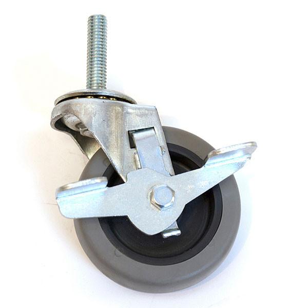"Caster Grey Rubber-Locking 3/8"" Stem Non-Marking"