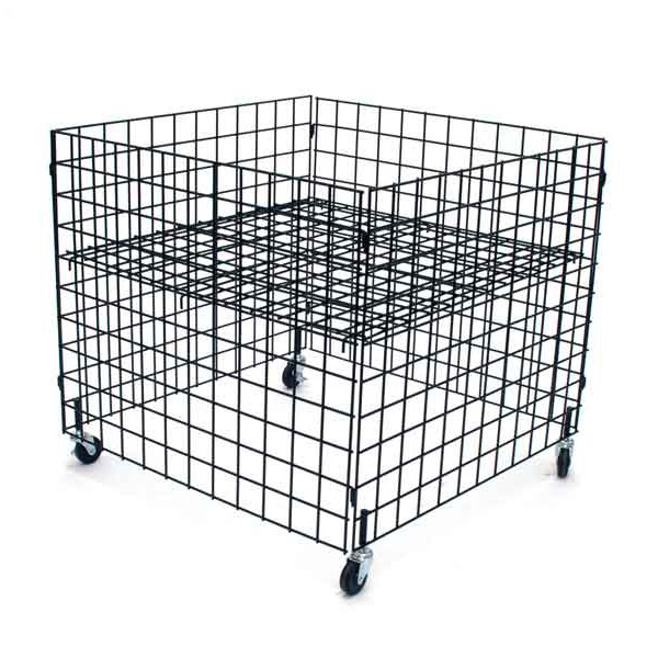 "Dump bin 36""x36""x30""high grid panels with casters - black"
