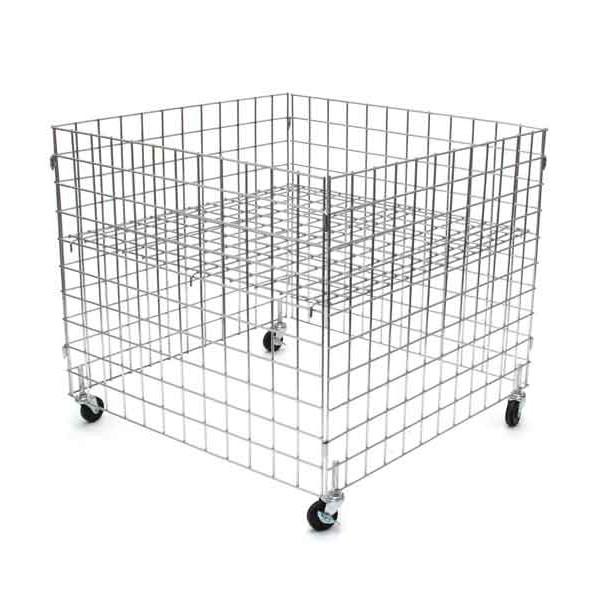 "Dump bin 36""x36""x30""high grid panels with casters - chrome"