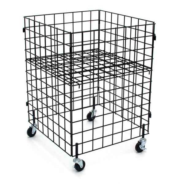"Grid dump bin with casters 24""x24""x34""high - black"