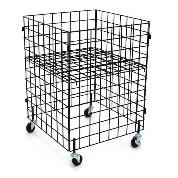 "Grid dump bin with casters 24""x24""x34""high - black"