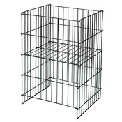 "Wire Dump Basket 18""x17""dx30""h with adjustable shelf - Black"