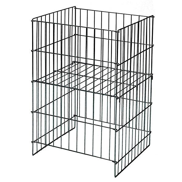 "Wire Dump Basket 18""x17""dx30""h with adjustable shelf - Black"